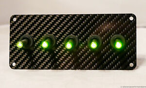 Authentic Carbon Fiber Panel W Led Toggle Switches Green