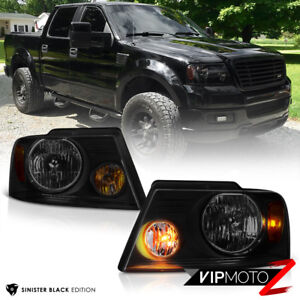 2004 2008 Ford F150 Sinister Black Smoke Head Lights Headlamps Pair Assembly