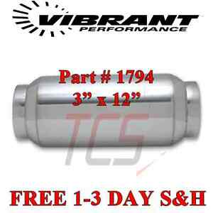 Vibrant 1794 Performance Exhaust Bottle Style Resonator 3 0 Inch 3 Inlet X 12