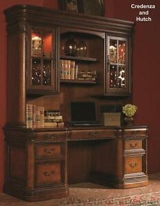 Vineyard Credenza Desk With Hutch Office Computer Wood Furniture Cherry Finish