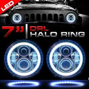 Two Round 7 Led Chrome Headlights Halo Angel Eyes For 1997 2018 Wrangler Jk