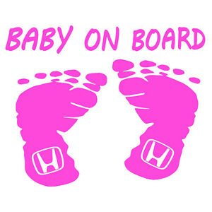 Baby On Board Honda Sticker Color Vinyl Auto Safety Decal