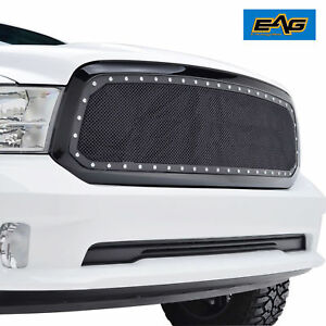 2013 2017 Ram 1500 Grille Stud Rivet Black Ss Hood Wire Mesh Grille W abs Shell
