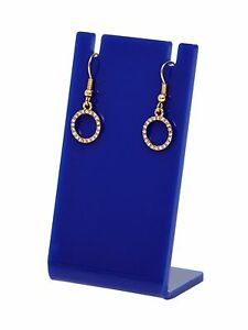 Lot Of 24 Earring Necklace Jewelry Blue Acrylic Display Stand Holder Earing