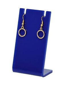Earring Necklace Jewelry Blue Acrylic Display Stand Holder Earing Lot Of 24