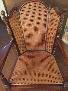 Antique Hard Wood Wicker Rocking Chair Excellent Condition