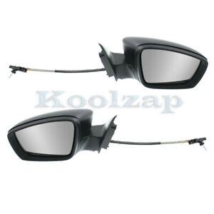 11 18 Vw Jetta Sedan Rear View Door Mirror Manual Remote Cable Textured Pair Set
