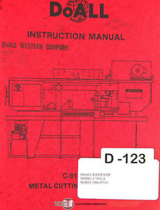 Doall C 916 a Band Saw Operations Electric Hydraulic And Parts Manual 1986