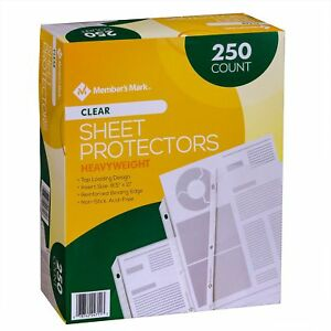 Members Mark Clear Poly Document Sheet Protectors 250 Ct Use W 3 Ring Binders