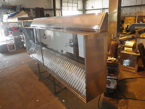 11 Ft type L Commercial Kitchen Exhaust Hood With M U Air blowers Roof Curbs