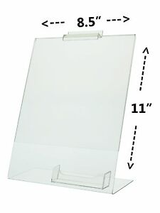 Lot Of 6 Clear 8 X 11 Slatwall Table Tent Ad Frame With Business Card Holder