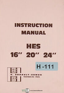Somua Hes 16 20 And 24 Lathe Installation Operations And Maintenance Manual