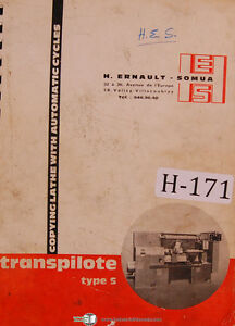 Hes Transpilote Type S Maintenance And Setting Tracer Lathe Manual 1953