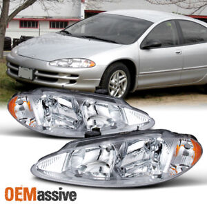 Fit 98 04 Dodge Intrepid Replacement Clear Headlights L R Chrome Headlamps