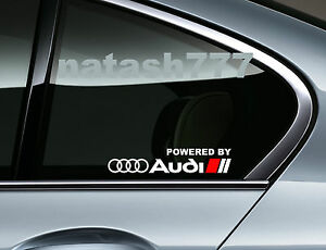 Powered By Audi Racing Sport S Line Window Decal Sticker Emblem Logo White Red