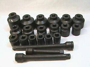 Wright Tool 21 Piece Lot 3 4 Drive Impact Sockets Extensions 7 8 2 3 8 6 Point