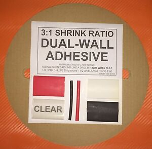3 8 9mm White 50 Ft Dual wall Adhesive Lined Heat Shrink Tubing 3 1 Ratio