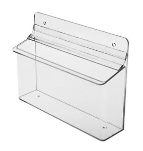 Outdoor Horizontal Flyer Box Clear Tri Fold Brochure Holder 8 5 w X 4 h Lot Of 4