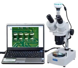 Omax Trinocular Stereo Microscope 20x 40x 80x With 2mp Usb Camera Dual Lights