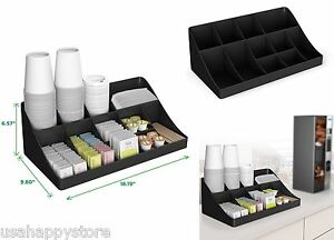 Kitchen Storage Organizer Coffee Condiment Holder Caddy Cup Sugar Rack Shelves