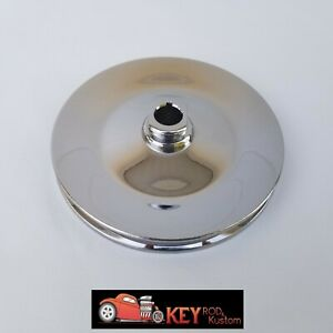 Chrome Saginaw Chrome Power Steering Pulley Single V Groove Gm Keyway Chevy