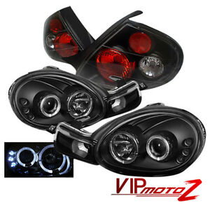 2000 2002 Dodge Neon Srt Black Halo Led Projector Headlight tail Light Assembly