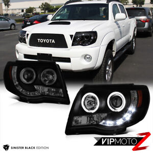 For 05 11 Toyota Tacoma Pickup Trd Black Halo Angel Eye Projector Headlight Lamp