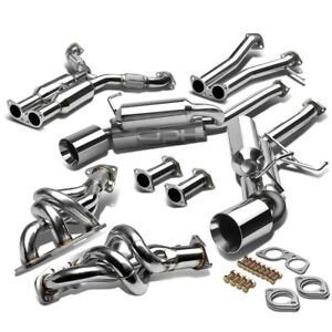For 350z G35 Stainless Manifold Header Dual Catback Exhaust Muffler Rolled Tip