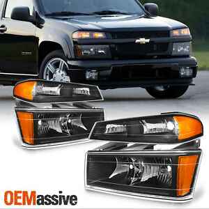 Fit 04 12 Colorado Canyon Black Headlights Bumper Signal Lights Replacement