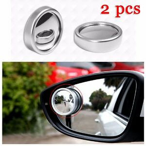 2 Pcs Round Stick On Convex Rearview Blind Spot Mirror Set