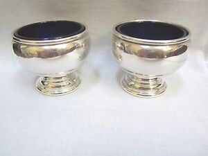 Set Of 2 Redlich Company Sterling Silver Master Salts With Cobalt Liners