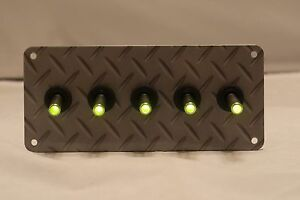 Diamond Tread Pattern Hydro Painted 5 Hole Plate With 5 Led Toggle Switches