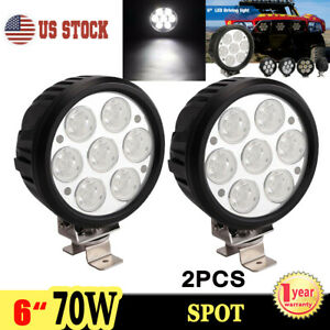 2x 6inch 70w Round Led Work Light Spot Driving Fog Lamp For Offroad Jeep 4x4 Atv