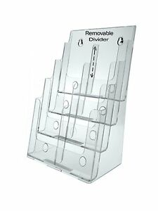 4 tier Brochure Holder For 8 5 W Literature Pamphlets Acrylic Lot Of 6