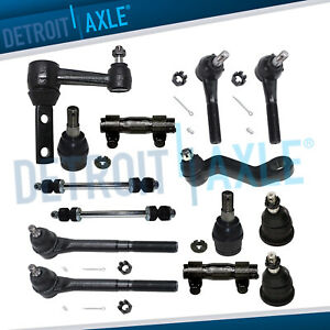 Upper Lower Ball Joints Inner Outer Tie Rod Pitman Idler Arm 14pc Set 2wd Only