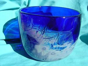 Decorative Hand Blown Glass Bowl Signed