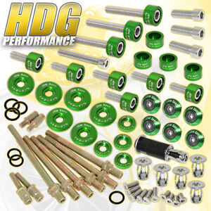 K20 K24 Honda Manifold Header cam Cap m8 Fender valve Cover Washers Kit Green