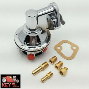 Small Block Chevy Chrome Mechanical High Volume Fuel Pump With Fittings Sbc 350