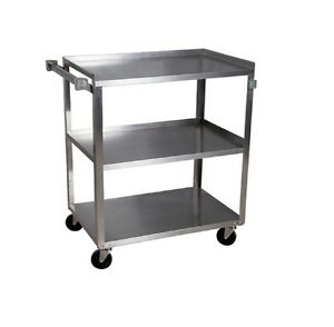 Stainless Steel Utility Cart 3 Shelves 27 X 18 Holds 300lbs Bbkc 1827s 3s