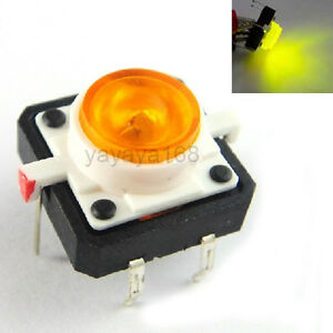 100pcs Illuminated Dip Tact Switch Yello Led Light 12x12mm Momentary Pushbutton