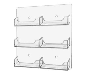 Lot Of 12 Clear Acrylic 6 Pocket Wall Mountable Business Card Holder Display