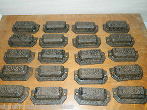 Lot 20 Ornate Iron Industrial Tool Seed Index File Bin Pull Handle Furniture