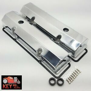 Small Block Chevy Polished Fabricated Aluminum Valve Covers 55 86 Sbc 350 400