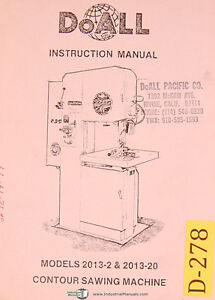 Doall 2013 2 2013 20 Vertical Contour Saw Instructions Manual 1979