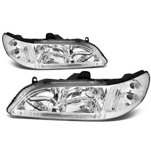 Fit 1998 2002 Honda Accord Pair Chrome Housing Clear Corner Headlight lamp Set