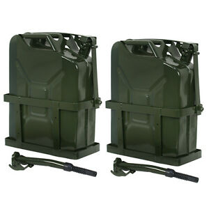 2x Jerry Can Fuel Tank W Holder Steel 5gallon 20l Nato Style Military Green