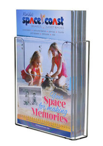 Clear Acrylic Brochure Holder For 6 w Literature Wall Or Counter lot Of 12