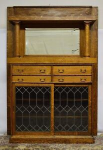 Antique Quartersawn Tiger Oak Leaded Glass Mantel Bookcase W Mirror