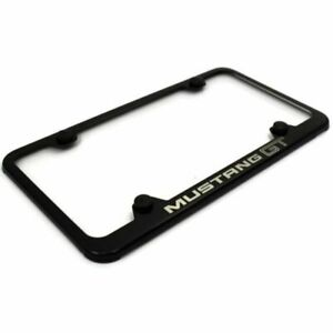 Ford Mustang Gt Black Stainless Steel License Plate Frame Lf mgt eb