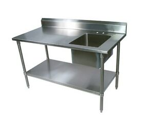 18 Ga Stainless Steel Prep Tables W Galvanized Legs Right Sink Bbkpt 3072g r
